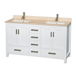 """Wyndham Collection - Sheffield 60"""" White Double Vanity, Ivory Marble Top & Undermount Square Sink - Distinctive styling and elegant lines come together to form a complete range of modern classics in the Sheffield Bathroom Vanity collection. Inspired by well established American standards and crafted without compromise, these vanities are designed to complement any decor, from traditional to minimalist modern. Available in multiple sizes and finishes."""