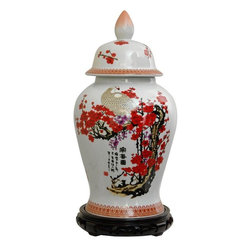 "Oriental Furniture - 18"" Cherry Blossom Porcelain Temple Jar - Crafted from high temperature porcelain ceramic, finished with a bright cherry blossom and white crane design with distinctive black calligraphy characters. Displayed individually or in matched pairs, our oriental temple jars lend an authentic Asian accent to traditional or modern American home decor."