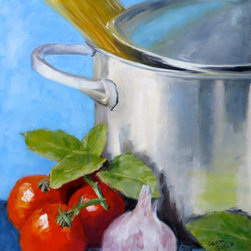 """""""Spaghetti Pot, Painting"""" - """"First painting on new cuisine kitchen art series.  A large stainless steel pot ready for the stove top with spaghetti, tomatoes, basil, and garlic for a pasta sauce."""""""