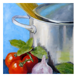 """Spaghetti Pot, Original, Painting - """"First painting on new cuisine kitchen art series.  A large stainless steel pot ready for the stove top with spaghetti, tomatoes, basil, and garlic for a pasta sauce."""""""