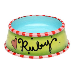 "ATD - 5 3/8 Inch Multicolored ""Ruby"" Pet Bowl, with Striped Rims - This gorgeous 5 3/8 Inch Multicolored ""Ruby"" Pet Bowl, with Striped Rims has the finest details and highest quality you will find anywhere! 5 3/8 Inch Multicolored ""Ruby"" Pet Bowl, with Striped Rims is truly remarkable."