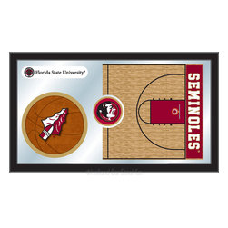 "Holland Bar Stool - Holland Bar Stool Florida State Basketball Mirror - Florida State Basketball Mirror belongs to College Collection by Holland Bar Stool The perfect way to show your school pride, our basketball Mirror displays your school's symbols with a style that fits any setting.  With it's simple but elegant design, colors burst through the 1/8"" thick glass and are highlighted by the mirrored accents.  Framed with a black, 1 1/4 wrapped wood frame with saw tooth hangers, this 15""(H) x 26""(W) mirror is ideal for your office, garage, or any room of the house.  Whether purchasing as a gift for a recent grad, sports superfan, or for yourself, you can take satisfaction knowing you're buying a mirror that is proudly Made in the USA by Holland Bar Stool Company, Holland, MI.   Mirror (1)"