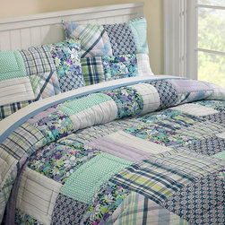 Boho Patchwork Quilt & Sham - Infuse your daughter's bedroom with color through this eclectic take on patchwork bedding. Full of cool colors and unique patterns, this will add comfort and individuality to her space.