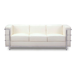 Zuo - Fortress Sofa, White - The Fortress Sofa is part of a mid-century classic series.  The chrome steel tubes wrap around the leatherette back and side while the luxurious leather seat invites you to sit and stay a while.  Available in black, white and espresso.