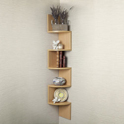 Danya B - Large Beech Veneer Zig Zag Corner Wall Shelf - Decorative zig-zag corner wall shelf with 5 shelves makes space utilization possible from any corner. With its contemporary beech veneer finish,it is the ideal accent for any living space. Minor assembly is required. All hardware included.
