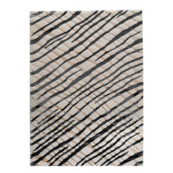 """MAT Orange Fantasma White Grey Rug - 5'2""""x7'6"""" - The rugs in this collection are all inspired by urban lanandscapes, making way for a statement where texture, shape, and line are the form. The rug's texture and the marriage of colors speak to the contemporary room. """"It is the art piece on the floor.  Because of the artistic quality ofThe rugs they are easily used in modern as well as traditional interiors. Pile Height:0. 5 Inches"""