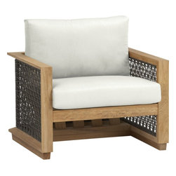 Canyon Lounge Chair with Sunbrella White Sand Cushion, Catalina/Canyon - Resin wicker and teak make this contemporary piece a showstopper. It has a deep seat that is perfect for a patio, and the unfinished teak fades into a silver-gray as it weathers. Talk about natural!