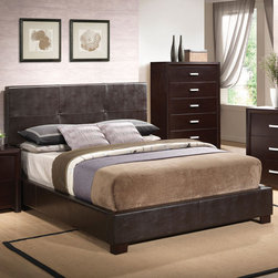 Coaster - Andreas Queen Bed - The unique styling of the Andreas bedroom collection offers a casual contemporary look that is sure to make a bold statement in your master bedroom. This sleek bed features an upholstered high straight headboard in dark brown faux leather and low profile footboard style frame for an exceptional look that you will love. Pair with the matching cappuccino night stand, dresser, mirror and chest for the complete look.