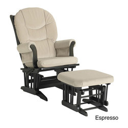Dutailier - Dutailier Ultramotion Hardwood Beige Glider and Ottoman - This Dutailier ultramotion glider and ottoman features a hardwood frame construction and microfiber fabric. This indoor chair is highlighted by an espresso or white finish and easy-care,beige fabric.