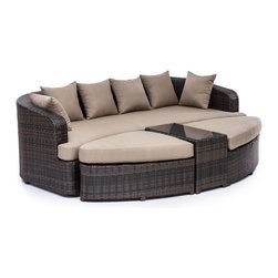 ZUO VIVA - Cove Beach Lounge Set Brown - Multi-functional yet stylish, the Cove Beach lounge set can transform into a large bed or an intimate seating arrangement for guests. The frame is aluminum for durability and the weave and cushions are water and UV resistant.