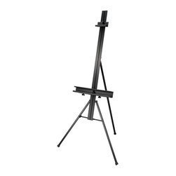Alvin and Company - Aluminum Art Easel with Swing-Out Arms - A variety of convenient features including swing-out arms that hold palettes, brush basins and other tools within easy reach make this lightweight aluminum easel an excellent choice for any artist. It has a pencil ledge to keep tools and canvases secure and is adjustable to hold many different sizes. 21 in. long 2-tier canvas shelf features a built-in panel slot and ledge to hold brushes or markers. 2 Swing-out arms conveniently hold palette, brush basin, and other items within arm's reach. Non-skid rubber feet provide a firm grip on all surfaces. Adjustable top and bottom brackets. Adjustable back leg. 68 in. tall and 36 in. wide. Holds canvases up to 48 in. high and 1.5 in. thick. Folds to 53 in. x 6 in. x 6 in. for compact storage. Ideal for studio or display use