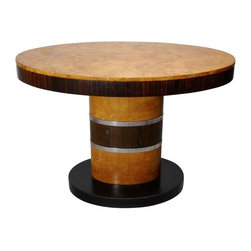 Pre-owned Art Deco Center Table in Birdseye Maple & Ebony - Stunning Art Deco center table in birdseye maple and Macassar ebony with chrome details. Probably English or French in origin, the table was purchased in an antique shop in New Zealand, then brought to the States when its former owners moved. It is in fair-good original condition, showing overall finish wear. Could be refinished or left alone, depending on your taste.