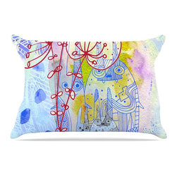 """Kess InHouse - Marianna Tankelevich """"Composition with Bunnies in Blue"""" Abstract Rabbits Pillow - This pillowcase, is just as bunny soft as the Kess InHouse duvet. It's made of microfiber velvety fleece. This machine washable fleece pillow case is the perfect accent to any duvet. Be your Bed's Curator."""