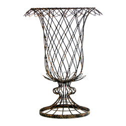Kathy Kuo Home - Pair French Country Small Urn Shaped Tulip Basket Vase Planter - Inspired by the great gardens of France, the French Wire collection is hand bent, twisted and assembled by welding every individual joint and hand tying depending on the style. Each piece is then powder coated for durability and hand finished lending to the aged feel.
