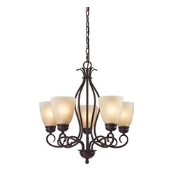 Cornerstone - 5 Light Chandelier - The Chatham Series is a transitional collection with great lines. This Five Light Chandelier in Brushed Nickel with White Glass is a great look to enhance any home Replacement Glass # G1010 Additional Chain # P1001