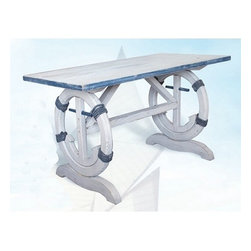 "Distressed Wood Nautical Table - The wooden nautical table measures 45"" x 24"" x 26"". It features a distressed white  blue table with an anchor on each side. It will add a definite nautical touch to wherever it is placed and is a must have for those who appreciate high quality nautical decor. It makes a great gift, impressive decoration and will be admired by all those who love the sea."