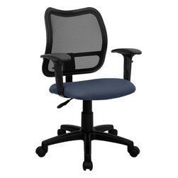 Flash Furniture - Flash Furniture Mid-Back Mesh Task Chair with Navy Blue Fabric Seat and Arms - If you're in need of a comfortable chair with a breathable mesh back this is the chair. The modern design of the back will add a contemporary look to your office space. This chair is height adjustable to adapt to your working environment and the height adjustable arms allow you to adjust to your comfort level.