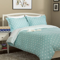 None - 300 Thread Count Cotton Dot Shoppe 3-piece Duvet Set - Add a delightful dose of dotted style to your home decor with this charming Dot Shoppe duvet cover set. Available in several fun color options,this pure cotton sateen cover and sham set reverses to a whimsical coordinated stripe pattern.