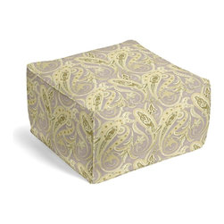 Pale Green Paisley Square Pouf - The Square Pouf is the hottest thing in decor since the sectional sofa. This bean bag meets Moroccan style ottoman does triple duty as a comfy extra seat, fashion-forward footstool, or part-time occasional table.  We love it in this traditional intricate paisley in flax gray & spring green on soft pure linen.