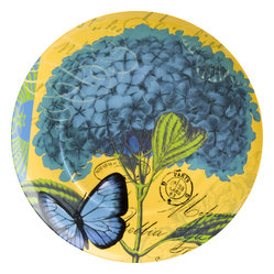 Waechtersbach - Impressions Set of 4 Plates Impressions Hydrangea in Blue - Forget fresh flowers on your table; add a touch of nature to every meal with a set of four beautiful porcelain hydrangea plates. Whimsical butterflies and vintage stamps add to the charm of every meal. And when you're done, simply wash these in your dishwasher.