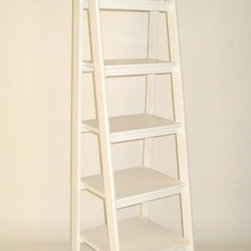 """Wayborn - Ladder Shelf in White - This classic wooden shelf from Wayborn is the perfect piece for family rooms, living rooms, or bedrooms. Featuring a ladder theme, this piece has 5 different sized shelves for displaying pictures, trinkets, and memorabilia.This beautiful wooden shelf is hand crafted and sure to add that little bit of flair to tie your space together. Features: -White ladder theme. -Wooden shelf. -Hand finished. -Assembly required. -Overall dimensions: 67.5"""" H x 19"""" W x 19"""" D. Note: This product is not designed to be used as a ladder or climbing aid-Smooth Finish."""