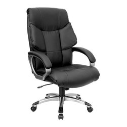 Flash Furniture - Contemporary Office Chair w Overstuffed Leath - Leather executive office chair. High back. Thick, double padding on seat and back. Espresso Brown leather upholstery. Heavy duty nylon loop style arms with Titanium finish. Leather padded arm rests. Pneumatic seat height adjustment. Tilt lock mechanism. Heavy duty nylon base with Titanium finish and Black end caps. Dual wheel casters. Meets or exceeds ANSI/BIFMA standards. Some assembly required. Seat: 22 1/4 in. W x 21 1/4 in. D. Back: 22 3/4 in. W x 28 1/4 in. H. Seat Height: 20 1/4 in. - 24 in. H. Arm Height: 9 in. H (from Seat). Overall: 27 in. W x 31 in. D x 44.5 in. - 48 1/4 in. H(42 lbs.)