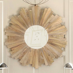 Oversized Sunburst Mirror   Wall Decor   Ballard Designs - Each ray in this oversized accent mirror is hand cut from solid mango wood and pieced together in a staggered pattern to create a dramatic sunburst design. We love it over a fireplace or sofa to create an instant focal point.