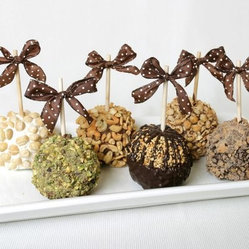 Golden Edibles 6 Gourmet Nut and Belgian Chocolate Caramel Apples