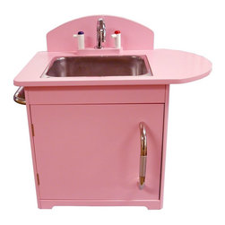 Dexton - Dexton Retro Kids Sink Multicolor - DX-20041 - Shop for Cooking and Housekeeping from Hayneedle.com! The pretty pink color and retro design of this kid sink will make your playroom a fun and inviting place for your children. The Retro Kids Sink features a realistic faucet with pretend cold (blue) and hot (red) levers. The stainless steel sink can be removed when it needs a real washing and the side towel bar can hold rags or hand towels for authentic kitchen play. The cabinet makes the perfect spot for storing play dishes. Your children will fall in love with the authentic look of this kid-sized appliance and you will appreciate the child-safety ventilation holes and the rounded kid-safe edges. Set a whimsical mood in your child's playroom with the Retro Kids Sink. Order yours today. About DextonDexton has been manufacturing distinguished high-quality children's musical instruments and ride-ons for over 10 years. Located in the Orange County area of Southern California its factories produce 50 of the most popular musical instruments to professional standards that music teachers prefer. Dexton also produces a wide assortment of battery-powered and pedal car ride-ons as well as children's furniture. Dexton uses the highest-quality wood leather and chrome-plated steel when manufacturing its safe kid-friendly products.