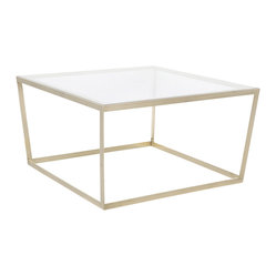 Iacoli & McAllister - Frame Coffee Table, Brass/Clear Glass - Picture yourself in modern style. At 30 inches wide and deep, this coffee table is perfectly proportioned and comes in a variety of materials and finishes to fit any decor. You can even choose clear or smoked glass for the top.