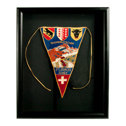 Salvatecture Studio - Framed Vintage Souvenir Pennant - Furka Pass, Rhone Glacier Switzerland - Set your sights on the pinnacle of design inspiration with this framed souvenir pennant from the Furka Pass on Switzerland's Rhone Glacier. This one-of-a-kind vintage accessory is set against a black mat and framed inside a black wood and plexiglass box. Let your design adventure begin!