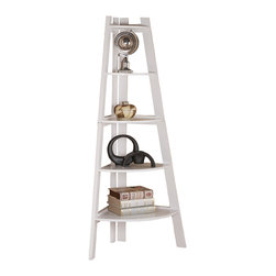 Adarn Inc. - Display Corner Wall Shelf Storage Ladder Shape Bookcase Bookshelf, White - A modern crafted piece, this cool bookcase offer a distinctive storage solution for any room in your home, great for tight spaces because it fits right into the corner of your room. Five pie-shape shelves offer plenty of storage space for books, framed photos, and your favorite decorative accent items. Create a stylish look in your home with this unique corner ladder shape shelf.