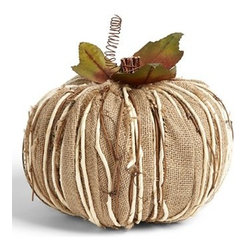 """Shea's Wildflower Burlap Pumpkin Decoration, Large - This rustic pumpkin is made from a country-style burlap potato sack fabric that screams """"Welcome to the fall season!"""" Place it on top of your mantel, but away from flickering candles to avoid any Thanksgiving drama."""