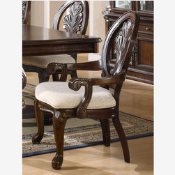 Coaster 2 PC Formal Rich Cherry Wood Dining Arm Chairs Cushion Seat - Features