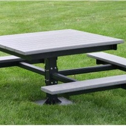Jayhawk Plastics Commercial ADA T-Picnic Table - The stylish contemporary design of the Jayhawk Plastics Commercial ADA T-Picnic Table makes it an ideal addition to any park or recreation area. A traditional design made to last the ADA T-Picnic Table is created from 100% recycled plastic. It won't splinter or crack like the old-fashioned wooden picnic tables so it is completely maintenance-free. This picnic table comes standard with heavy-duty zinc-coated hardware which prevents rusting and ensures years of use. Easily accessible ADA-compliant design. Available in a variety of colors including green cedar gray black and white. Powder- coated structured steel frames are available in black.About Jayhawk Plastics Inc.Since 1973 Jayhawk Plastics Inc. has been producing quality plastic furnishings at reasonable prices. Their commitment to superior customer service and quality products has helped Jayhawk become an industry leader. All of Jayhawk's benches and outdoor plastic products are made from 100% recycled plastic. This material gives you the best of both worlds: products made entirely of recycled plastic that also have the beauty of natural wood.Jayhawk's benches tables receptacles and other products are maintenance-free vandal-resistant and environmentally friendly. Because they're made of milk jugs pop bottles and many other forms of post-consumer and post-industrial waste these products save trees and reduce landfill usage. Jayhawk's recycled plastic does not need to be sealed painted or stained and cannot rot. Paint will not bond to the surface and pen and marker can be washed off easily with household cleaning solvents. Jayhawk benches are designed to last many years in the outdoor elements in both residential and commercial applications.