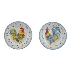 """Abbiamo Tutto - Rooster Hand Painted Plates - Set of 2 - Hand painted in Tuscany exclusively for Abbiamo Tutto. A set of 2 Rooster Plates. There are holes behind the plates for easy hanging. Perfect for European traditional lovers, farm house theme and arts and craft designs.  11""""d"""