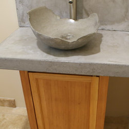 """Sinks and Vanities - Concrete counters, backsplash and the """"artifact sink"""" by BDWG Concrete Studio. Photo shows a recent install in hand trowelled finish, natural gray concrete. Reclaimed, heartpine base."""
