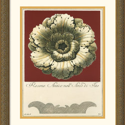 Amanti Art - Rosone Antico III Framed Print by Guerra - With his series of antique rosettes artist Guerra brings out the fine craftsmanship with the burst of color. Tie your room together with the purchase of more items from this same set.