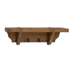 BZBZ50239 - Pine Wood Wall Shelf Metal Hooks Adorned with Hammered Nails - Pine Wood Wall Shelf Metal Hooks Adorned with Hammered Nails. Some assembly may be required.