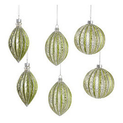 Glistening Globes - Set of 6 - New - Take a trip to the holidays of yesteryear with these old-fashioned ornaments. Beautifully finished, this set is one you'll cherish for years to come. Tip: The deep green pops brilliantly against a white tree. Each bulb is crafted from mouth-blown glass.