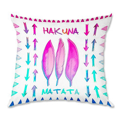 DiaNoche Designs - Pillow Linen - Monika Strigel Hakuna Matata II - Soft and silky to the touch, add a little texture and style to your decor with our Woven Linen throw pillows.. 100% smooth poly with cushy supportive pillow insert, zipped inside. Dye Sublimation printing adheres the ink to the material for long life and durability. Double Sided Print, Machine Washable, Product may vary slightly from image.