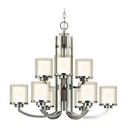 Dolan Designs Lighting - Modern Two-Tier Chandelier with Clear Seedy and White Glass Shades - 2952-09 - Contemporary / modern satin nickel 9-light, chandelier. Satin white inner and clear seedy outer glass shades. Takes (9) 100-watt incandescent A19 bulb(s). Bulb(s) sold separately. UL listed. Dry location rated.