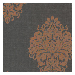 Brewster Home Fashions - Duchess Orange Damask Wallpaper Bolt - A glamorous damask wallpaper in charcoal grey and copper orange. Dusted with a captivating metallic shimmer.
