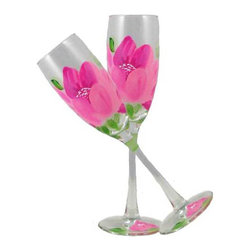Peony Champagne Glasses  Set of 2 - This lovely hand painted champagne flute features a wonderful Pink Peony.  Something to be handed down from generation to generation.  Proudly hand painted in the USA.