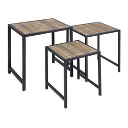"""IMAX - IK Groveport Nesting Tables-Set of 3 - This set of three nesting tables feature a light finish wood with dovetail design and are a great space saving set to add to any room! Item Dimensions: (19-22-24.75""""h x 15-18-21.5""""w x 15-16-17.25"""")"""