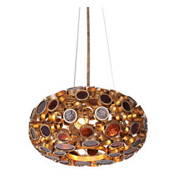 """Varaluz - Transitional Varaluz Fascination 18"""" Wide Reclaimed Glass Chandelier - This eco-friendly open-bottom 18"""" wide reclaimed glass chandelier from Varaluz lives up to its name. The Fascination collection features 70% or greater hand-forged recycled steel in its frame of various size circles. The circles are filled with warm hues of reclaimed amber bottle glass to create this fixture's donut shape. As the colored glass scatters and diffuses the light the frame and canopy glisten in low-VOC (volatile organic compound) Kolorado finish. A gorgeous environmentally conscious design from Varaluz. Reclaimed amber bottle glass. Recycled steel. Low-VOC Kolorado finish. Takes three 100 watt bulbs (not included). 18"""" wide. 8 1/2"""" high. 10' electrical cable included. Canopy is 6"""" wide. Hang weight is 19 lbs.  Reclaimed amber bottle glass.   Recycled steel.   Low-VOC Kolorado finish.   Takes three 100 watt bulbs (not included).   18"""" wide.   8 1/2"""" high.   10' electrical cable included.   Canopy is 6"""" wide.    Hang weight is 19 lbs."""