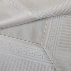 "Mode Living - Athens Tablecloth, Taupe, 70""X108"" - Inspired by the ancient Greek architecture, the Athens collection symbolizes tradition and modernity at its finest. The subtle light effects of the pattern create a sumptuous dining experience, while the easycare coating makes laundering simple."