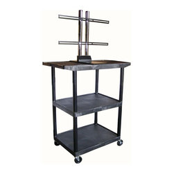 Luxor Furniture - Mobile Flat Panel Display Cart in Black - Includes 3-outlets 15 ft. surge suppressing electric assembly. Three shelves with wide top shelf with universal plasma. LCD mount holds upto 50 in. screen. Integral safety push handle molded into top shelf for sturdy grip. Shelves and legs won't stain, scratch, dent or rust. Top shelf reinforced with one metal bar. 0.25 in. retaining lip and sure grip safety pads. Cable track cord management system keeps cords neatly secured. Cabling hold in top shelf with cord guide cover. 4 in. ball bearing casters. Two casters with locking brake. 17.75 in. lower and 19 in. upper shelf clearance. Made from high density polyethylene structural foam molded plastic. 32 in. L x 24 in. W x 48.5 in. H. Warranty. Installation Manual