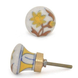"Knobco - Flowers With Greenery Knob, White With A Yellow Flowers And Brown Leaves - White with a yellow flowers and brown leaves round cabinet door knob from Jaipur, India. Unique, hand painted cabinet knobs for your kitchen cabinets. 1.5"" in diameter. Includes screws for installation."