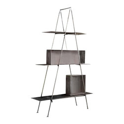 Lamia Tall Shelf - Make your shelving unit the center of attention, indoors or out. This triangular three-shelf marvel will create an industrial chic scene in your home, office or greenhouse. Decorate with plants, art, books or anything you wish to beautifully display.